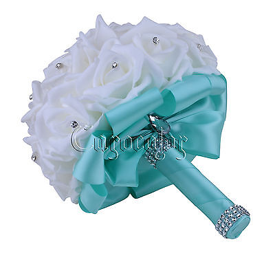 Turquoise Wedding Bouquet Bridal Bridesmaid Aartificial Flower Roses Posy Decor