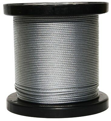 """T-304 Grade 7 x 19 Stainless Steel Cable Wire Rope 3/16""""- 100 ft"""