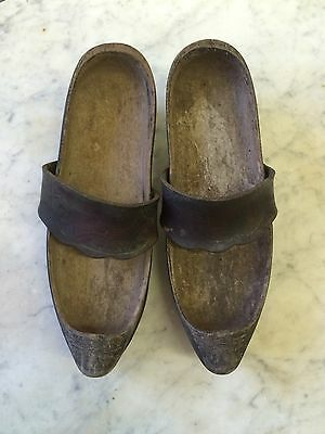 1800s Wooden Shoes French Sabots Hand Carved Antique