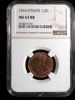 Straits Settlements 1916 1/2 Cent *NGC MS-63 RB* Malaysia Scarce This Nice