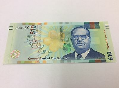 "UNC  Bahamas 2016 $ 10 REDESIGNED COLORFUL NEW  ""EVOLUTION"" SERIES B350 UNC"