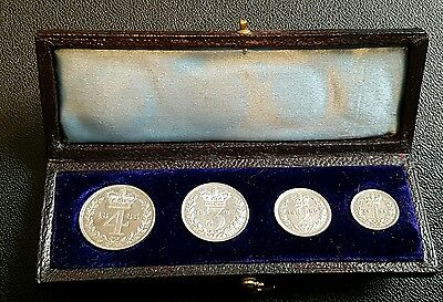 1885 maundy money set, 1-2-3-4 pence, rare collectable (32b)