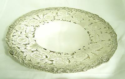 Heavy 30cm diameter Solid Silver dish / tray / salver - 1936, Walker Hall - 925g