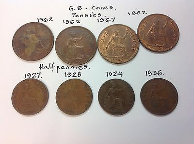 "Coins ""l6"",.g.b..english 8.coins  G.b. Copper Pennies,."