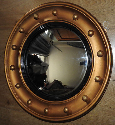 antique 19th Century gilt framed with balls circular convex wall mirror