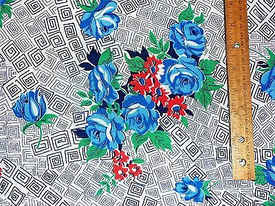 Vintage Feedsack Blue Roses, Red Daisys, Geometric Background
