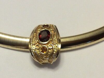 14k Yellow Gold Etruscan Style Garnet and Citrine Slide Pendant - TW 3.75 grams