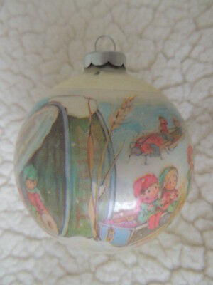 Hallmark by Sue Tague 1973 ELVES Tree Trimmer Glass Ball Ornament Made in USA