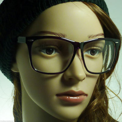 RETRO Large Oversized Geek Nerd Women Men Unisex Frame Clear Lens Eye Glasses