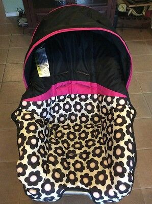 EVENFLO Nurture Baby Car Seat Cover Cushion Canopy Set Pink Black Flowers