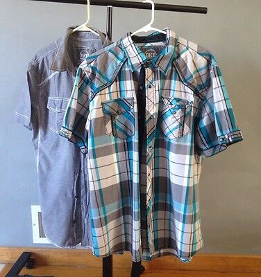 Mens Lot Of 2 BKE Buckle Plaid Gray Shirts XL Short Sleeve Button Up Teal Black