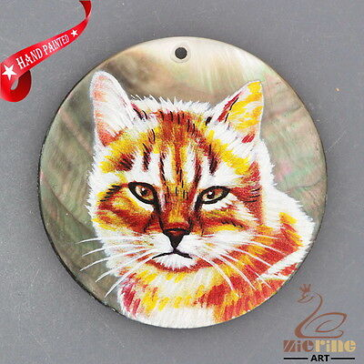 Hand Painted Cat Diy Necklace Shell Pendant Bead Zh30 00578