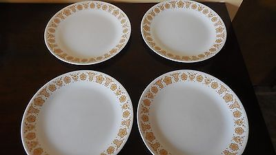 """Corning Ware Corelle Pyrex Butterfly Gold Four dinner plates 10.25"""""""