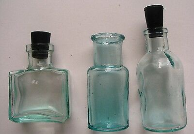 Vintage clear glass 3 bottles apothecary medicine