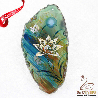 Hand Painted Butterfly Gemstone Creative Necklace Pendant Bead Zl80 21950