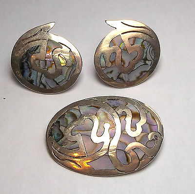 Mexico Sterling and Mother of Pearl Brooch + Matching Screwback Earrings