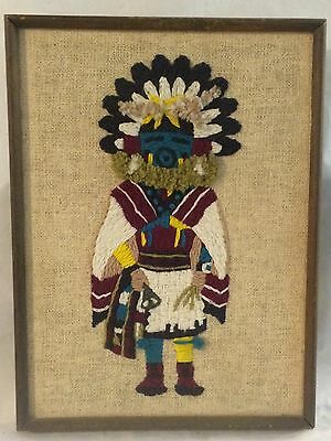 Morning Kachina Talavai Framed Wall Hanging Handmade Stitched Dated 1974 Vintage