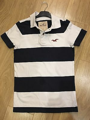 Excellent Condition HOLLISTER Blue & White Striped Polo Shirt - Small