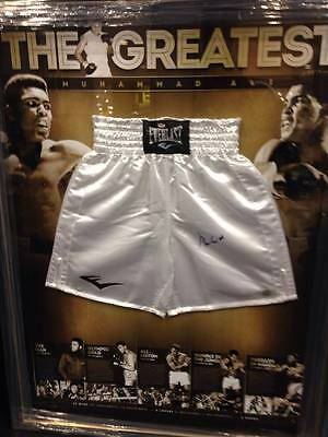 Muhammad Ali Personally Hand Signed Everlast Trunks With Backdrop Tyson Frazier