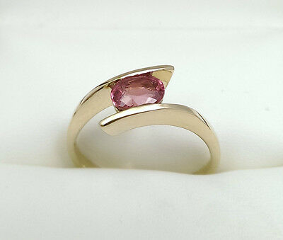 Pink Imperial Topaz 9ct Gold Ring Size S
