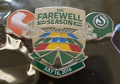 CFL SASKATCHEWAN ROUGHRIDERS 2016 FAREWELL SEASON vs B.C. LIONS JULY 16 PIN