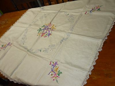 Vintage Pure Irish Linen Tablecloth Uncompleted Embroidery Semco