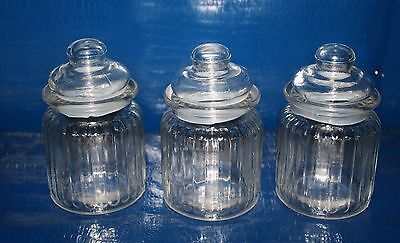 Vintage Set Of 3 Small  Glass Ribbed Spice/apothecary/canister Jars
