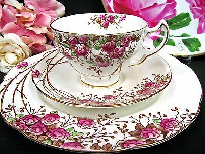 Adderley Tea Cup And Saucer Trio Rose Bush Pattern Teacup Painted