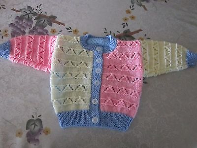 Baby  Cardigan Hand Knitted Pink, Blue & Lemon -100% Super Soft Acrylic-6 months