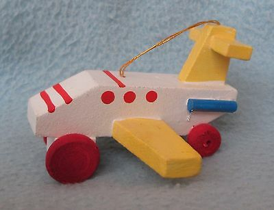"Jet Plane Airplane 3"" Wood Taiwan Christmas Ornament"
