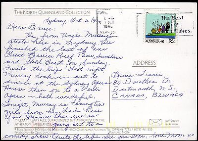 Australia 1992 air mail postcard to Canada with 95c 'Living Together' (Law)