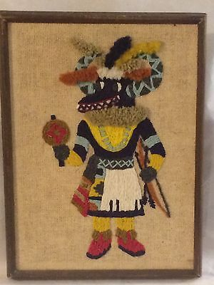 Kachina Framed Wall Hanging Handmade Stitched Dated 1974 Vintage Pueblo Indians
