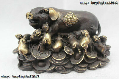 """4""""China Folk Feng Shui Red Bronze Lifelike Money drawing sow And son Pig Statue"""