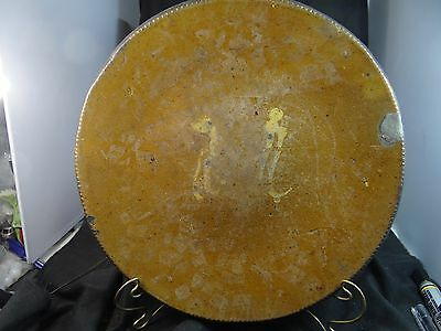 early decorated redware charger,12'' Dia.coggle edge,pretty good condition