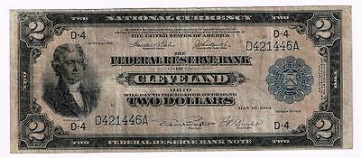 $2 1918 BANKNOTE, CLEVELAND / OHIO, BATTLESHIP, Fr. 757. BLUE SEAL. GREAT LOOK!