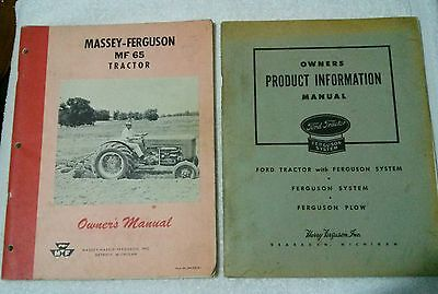 2 Vintage Manuals Ford Tractor Ferguson System Plow Massey Harris Mf65 Tractor