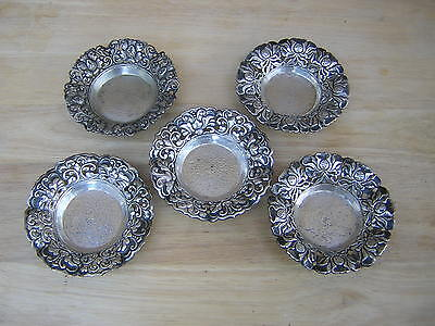 5 Vintage Hand Hammered Nouveau Arts + Crafts Sterling Silver Tray Trays Dish