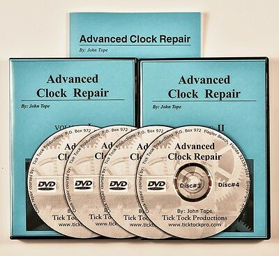 ADVANCED CLOCK REPAIR study course 4 video DVDs includes manual. NEW!