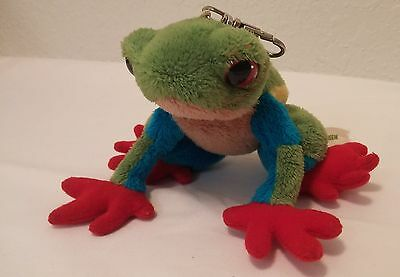 Wild Life Artist Plush Rainforest Tree Frog Key Chain colorful Bag Tag Zipper