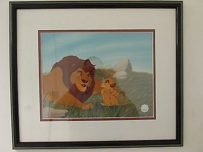 "Disney Art Cel Sericel The Lion King ""Pouncing Lessons"" Simba & Mufasa"