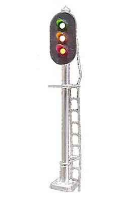 HO Scale Block Signal 3-Light Vertical Brass Green Red Yellow LEDs Tomar H856