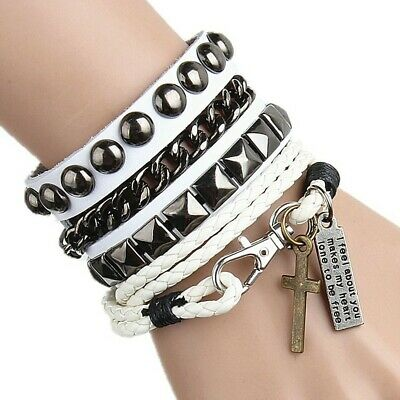 Women/Men Multi-layer Cool Punk Leather Wide Ring Cuff Bracelet Wristband US