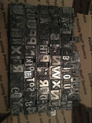 LOT OF 100+ VINTAGE METAL LETTERPRESS PRINT BLOCKS LETTERS NUMBERS Symbols