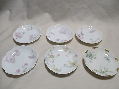 Lot of 6 Small Mixed Limoges Butter Pats Dishes