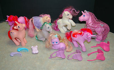 """Vintage 1982-1992 My Little Pony Lot Of 8 """"with 3 Saddles, 3 Combs, 1 Dress'"""