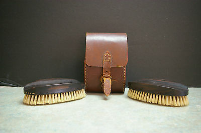 Vintage 1930's Pair Of 'real Ebony-Natural Pure Bristles' Oval Brushes & Case