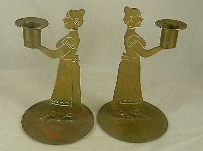 Pair Arts & Crafts Era Brass Candle Holders Figural Woman Goberg Germany 1910