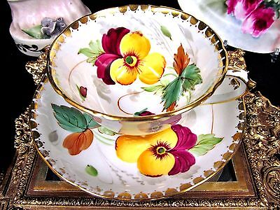 Tuscan Tea Cup And Saucer  Painted Floral Pansy Pattern Teacup
