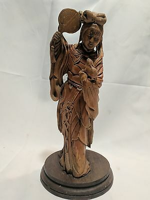 Fine Old Kwan Yin Chinese Wood Carving Statue Figure Guanyin