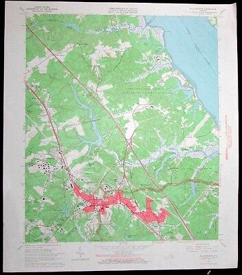 Williamsburg Virginia York River Camp Peary Battlefield 1966 old USGS Topo chart